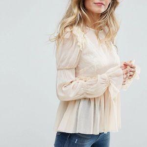 Tops - Ruffle chiffon smock blouse